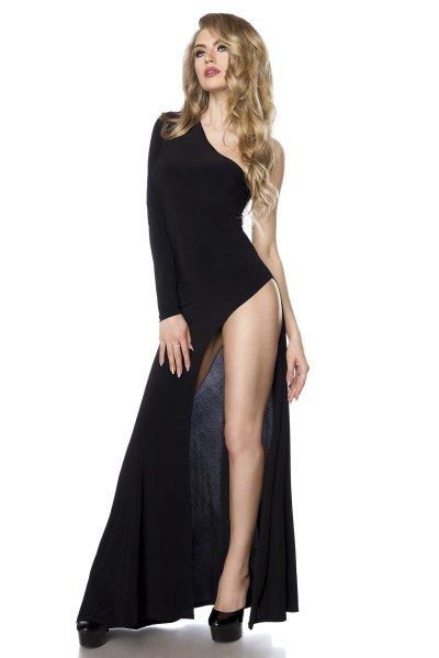 Schwarzes Gogo-Kleid mit Beinausschnitt