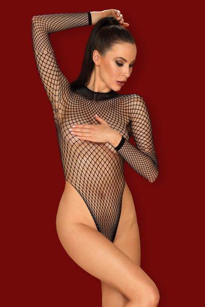 Schwarzer Netz-Body mit Rückenausschnitt