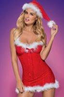 Weihnachts-Negligee mit Mütze