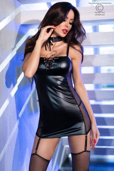 Wetlook-Kleid mit Strümpfen und Halsband