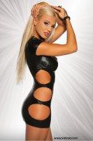 Wetlook Minikleid in schwarz mit Cutouts