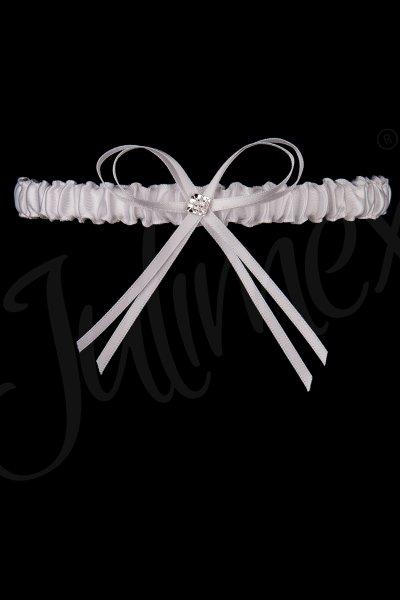 Weißes Strumpfband mit Schmuck und Schleife