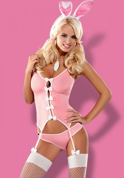 Bunny Kostüm in rosa mit Strümpfen