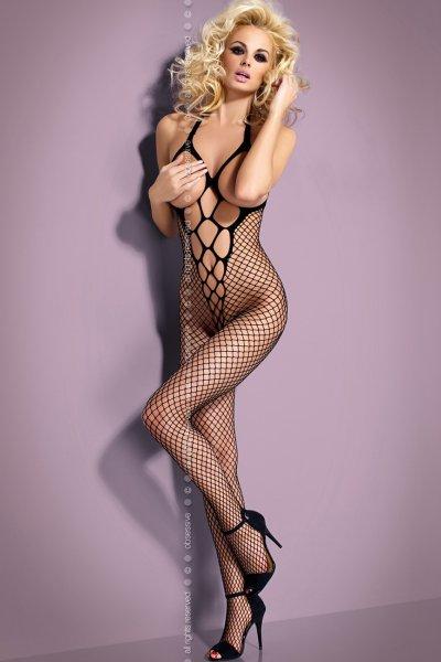 Brustfreier Catsuit aus schwarzem Netz