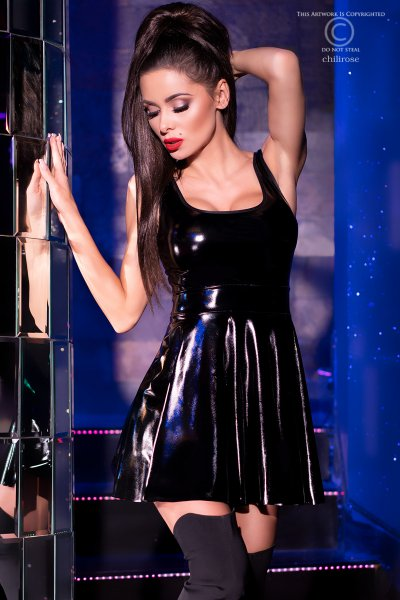 Latex-Minikleid in schwarz