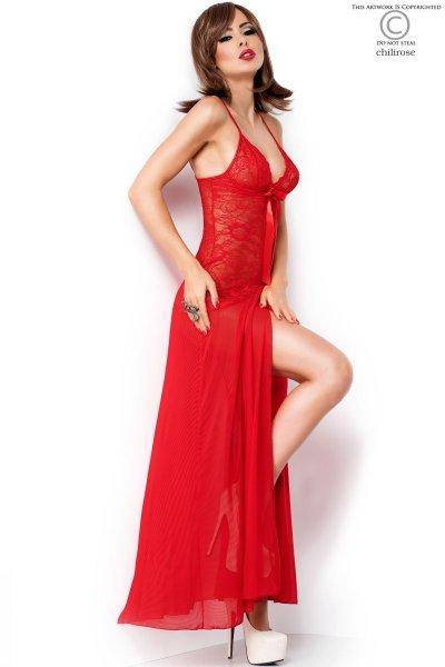 Lange rote Robe mit Blumenmuster