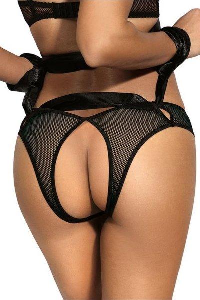 Schwarzer Bondage-Slip ouvert