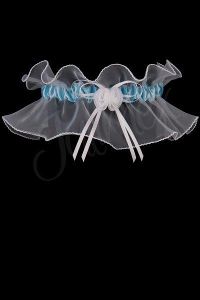 Tüll-Strumpfband in weiß-blau